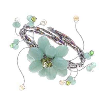 Beaded Quartz Floral Bracelet