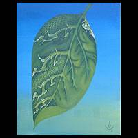 'The Leaf of Life' - Spiritual Acrylic Painting
