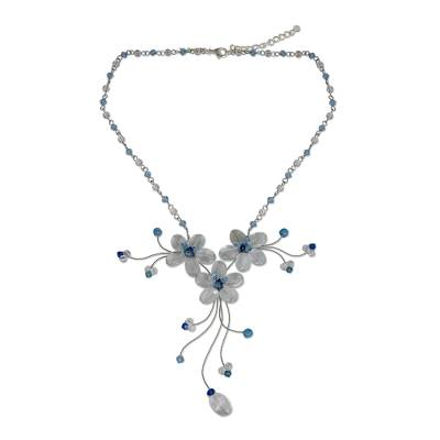Quartz and topaz choker, 'Floral Cascade' - Beaded Quartz and Topaz Necklace from Thailand