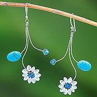 Sterling silver dangle earrings, 'Jungle Stars' - Reconstituted Turquoise and Topaz Earrings
