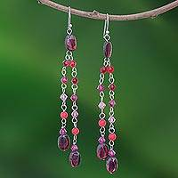 Quartzite and garnet waterfall earrings, 'Shimmering Perfection' - Quartzite and garnet waterfall earrings