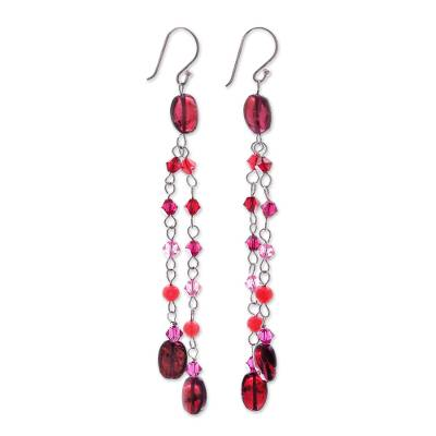 Quartzite and garnet waterfall earrings