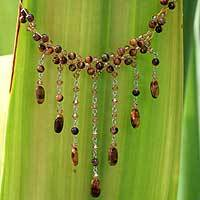 Tiger's eye waterfall necklace, 'Chestnut Shower' - Beaded Glass Tiger Eye Necklace