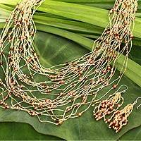 Pearl and tiger's eye jewelry set, 'Exuberant Gold' - Handcrafted Jewelry Set of Beads from Thailand