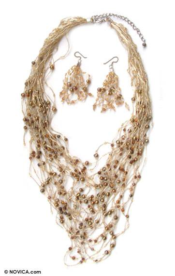 Pearl and tiger's eye jewelry set, 'Exuberant Gold' - Hand Made Pearl Necklace and Earrings Jewelry Set