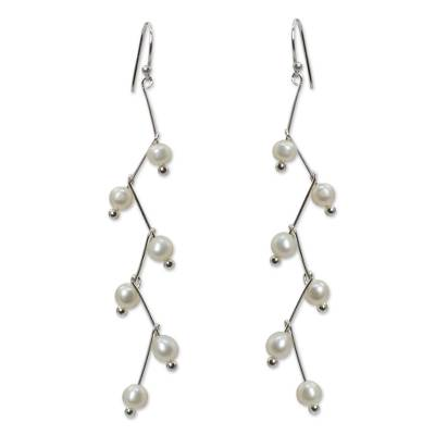 Pearl dangle earrings, 'White Lightning' - Pearl dangle earrings