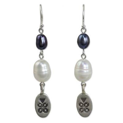 Cultured pearl dangle earrings, 'Hill Tribe Blue' - Fair Trade Silver and Pearl Earrings