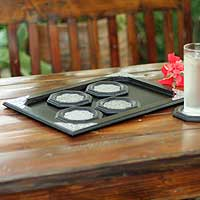 Nickel and wood tray and coasters,