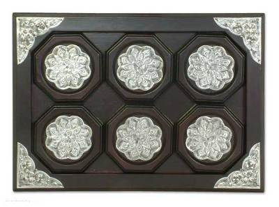 Nickel and wood tray and coasters (Set of 6)