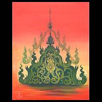 'Plant Pagoda' - Original Thai Fine Art Painting