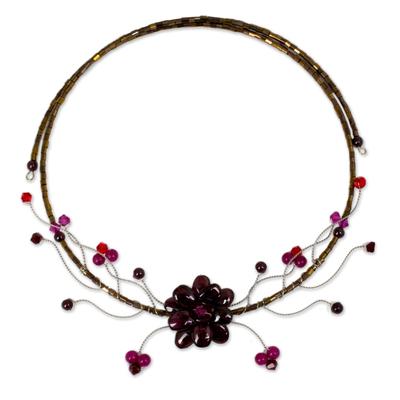 Garnet choker, 'Crimson Beauty' - Fair Trade Floral Quartz Necklace from Thailand