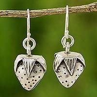 Sterling silver dangle earrings, 'Wild Strawberries' - Sterling silver dangle earrings
