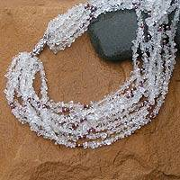 Quartz and garnet long beaded necklace, 'Sparkling Crystal Scarf' - Quartz and garnet long beaded necklace