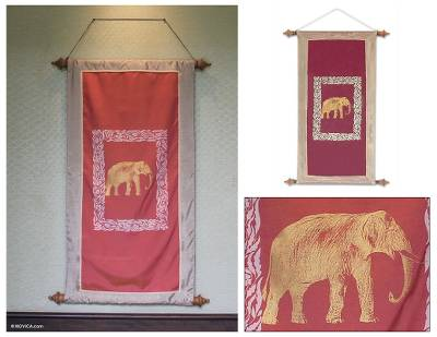 Silk and cotton wall hanging, 'Gold Elephant Guard' - Silk and cotton wall hanging