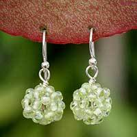 Peridot cluster earrings, 'Sweet Green Grapes' - Beaded Peridot Dangle Earrings