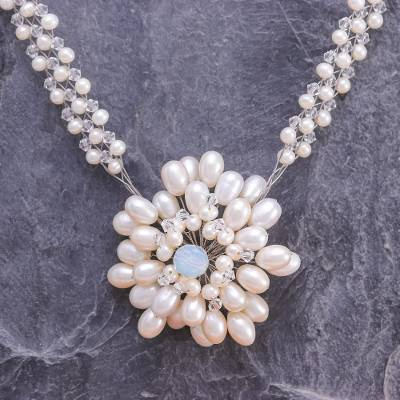 Pearl and rose quartz choker, 'Chrysanthemum' - Unique Bridal Pearl Necklace