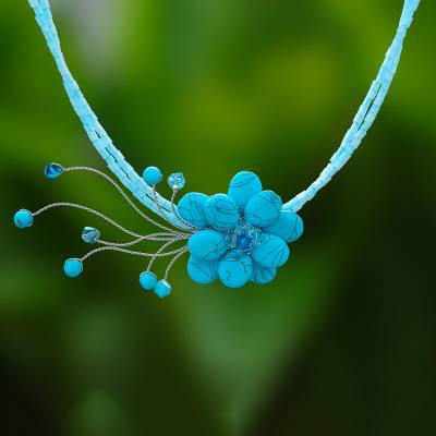 Beaded choker, 'Blue Floral Chic' - Beaded Flower Necklace