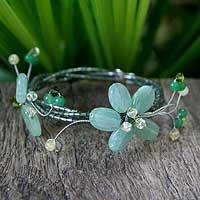 Quartzite and peridot wrap bracelet, 'Butterfly Bloom' - Handmade Quartz and Peridot Beaded Bracelet
