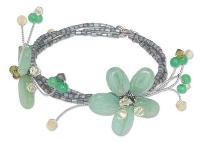 Handmade Quartz and Peridot Beaded Bracelet