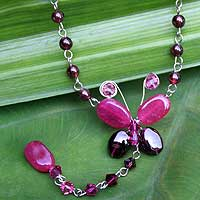 Garnet and quartzite choker, 'Red Butterfly Secrets' - Garnet and quartzite choker