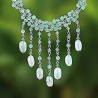 Beaded choker, 'Green Rain Shower' - Beaded Quartz Waterfall Necklace