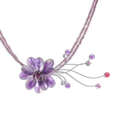 Beaded Amethyst Flower Necklace