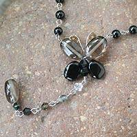 Quartz beaded necklace, 'Black Butterfly Secrets' - Fair Trade Beaded Quartz Necklace