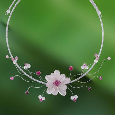 Rose quartz and garnet choker, 'Rose Bouquet' - Rose Quartz Beaded Choker