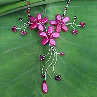 Quartzite and garnet flower necklace, 'Red Rosebud Burst' - Fair Trade Beaded Quartz Necklace