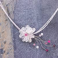 Rose quartz choker, 'Floral Chic' - Handcrafted Rose Quartz Necklace