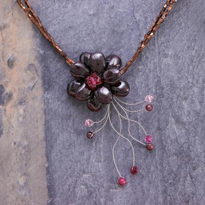 Garnet flower necklace 'Scarlet Floral Chic' - Floral Quartz and Garnet Necklace