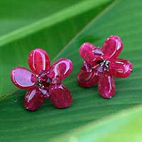 Sterling silver button earrings, 'Crimson Flower'
