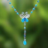 Beaded necklace, 'Butterfly Secrets' - Beaded necklace