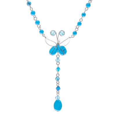 Fair Trade Thai Topaz and Turquoise Beaded Butterfly Y Necklace