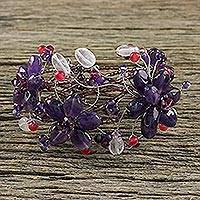 Amethyst and rose quartz wrap bracelet, 'Garland' - Amethyst Beaded Flower Bracelet