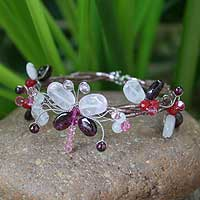 Garnet and rose quartz wrap bracelet, 'Butterfly Bloom' - Garnet and rose quartz wrap bracelet