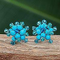 Sterling silver button earrings, 'Blue Stars' - Artisan Crafted Floral Earrings