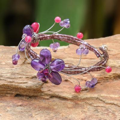 Amethyst wrap bracelet, 'Violet Dreams' - Hand Made Amethyst Flower Bracelet