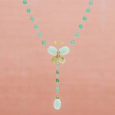 Peridot pendant necklace, 'Butterfly Secrets' - Beaded Peridot Necklace