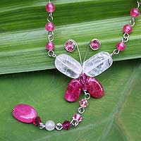 Rose quartz pendant necklace, 'Butterfly Secrets'