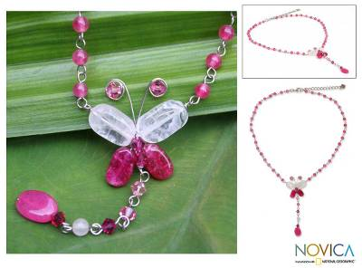 Rose quartz pendant necklace, 'Butterfly Secrets' - Beaded Rose Quartz Y Necklace