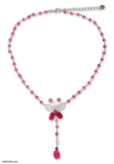 Rose quartz pendant necklace, 'Butterfly Secrets' - Beaded Rose Quartz Y Necklace