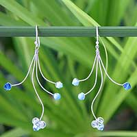 Topaz dangle earrings, 'Springtime Blue' - Beaded Blue Topaz Earrings