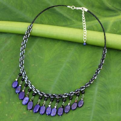 Lapis lazuli choker, 'Raindrops' - Lapis Lazuli Choker Necklace