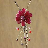 Garnet flower necklace, 'Scarlet Splendor' - Garnet flower necklace
