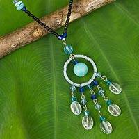 Beaded pendant necklace, 'Azure Dreamcatcher' - Beaded Pendant Necklace from Thailand