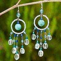 Topaz chandelier earrings, 'Azure Dreamcatcher' - Handmade Beaded Earrings from Thailand