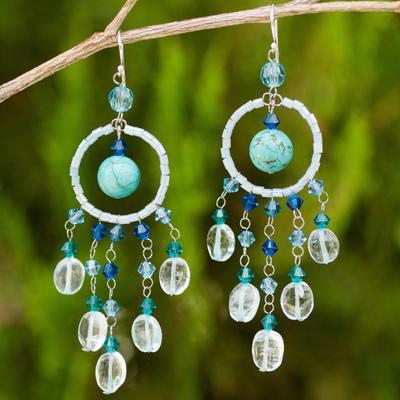 Topaz chandelier earrings, 'Azure Dreamcatcher' - Handmade Beaded Earrings from Thailand