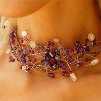 Amethyst and rose quartz collar necklace, 'Three Lilac Blossoms' - Fair Trade Amethyst Necklace