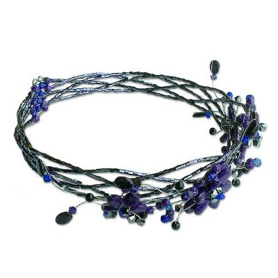 Lapis lazuli choker, 'Three Blue Blossoms' - Hand Made Floral Beaded Lapis Lazuli Necklace